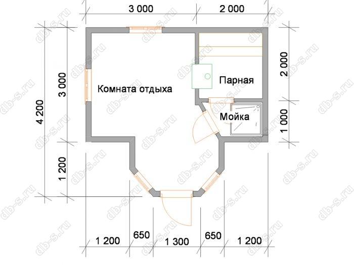 Планировка одноэтажной бани 5 на 3