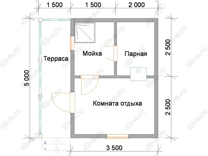 Планировка одноэтажной бани 5 на 5
