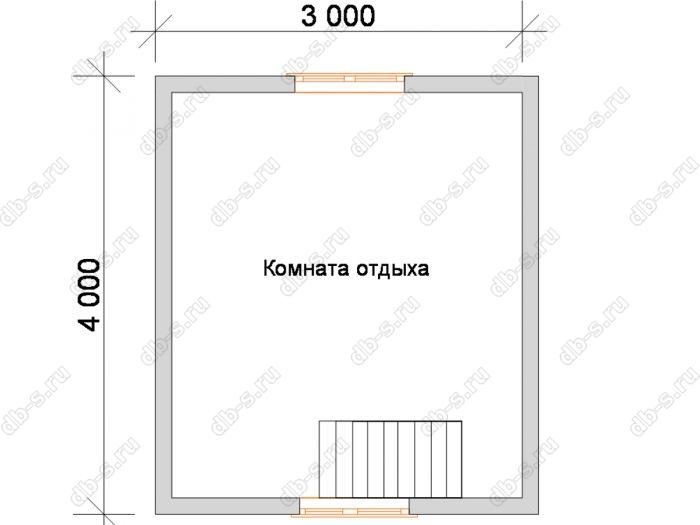 План мансардного этажа бани 5 на 4