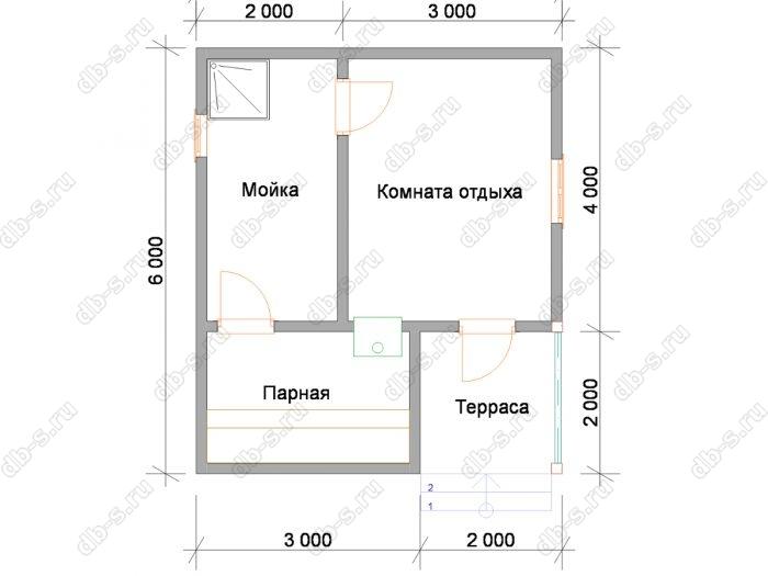 Планировка одноэтажной бани 6 на 5