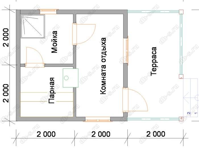 Планировка одноэтажной бани 6 на 4