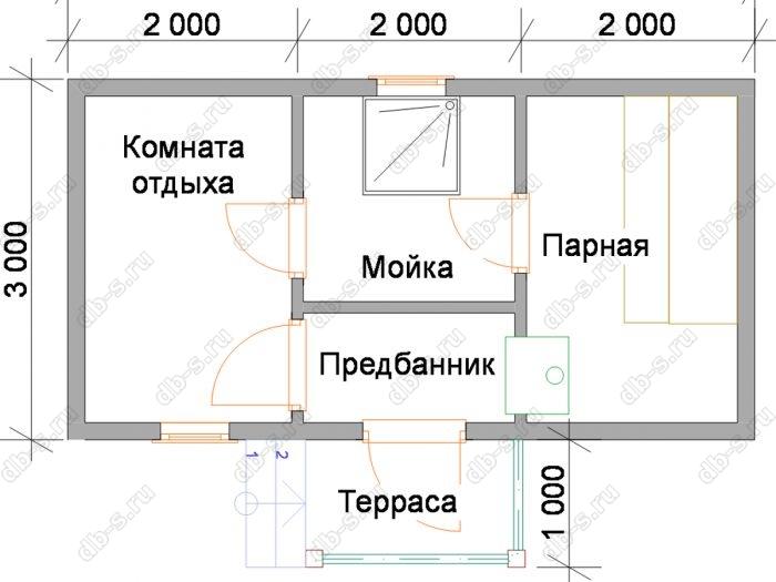 Планировка одноэтажной бани 6 на 3