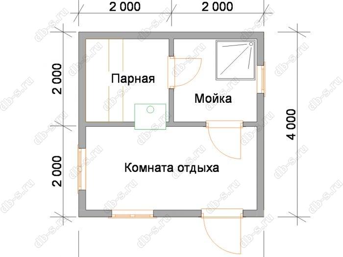 Планировка одноэтажной бани 4 на 4