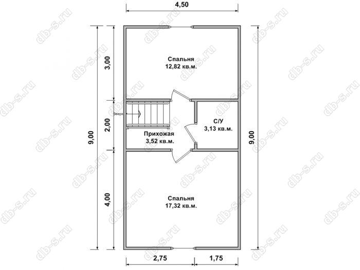 План мансардного этажа бани 6 на 9