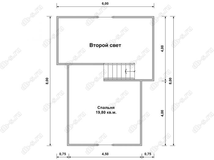 План мансардного этажа бани 6 на 8