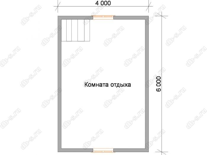 План мансардного этажа бани 6 на 6