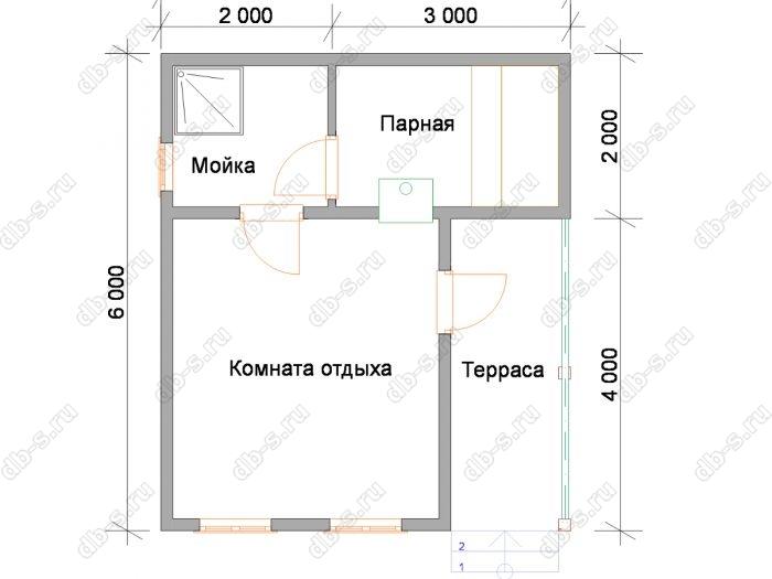 Планировка одноэтажной бани 5 на 6