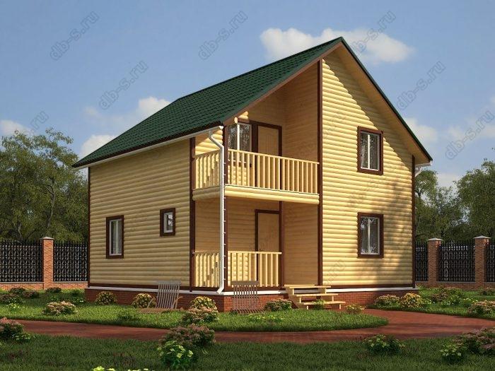 Двухэтажный проект 8 на 8 дом из профилированного бруса терраса (веранда) балкон двухскатная крыша санузел (туалет)
