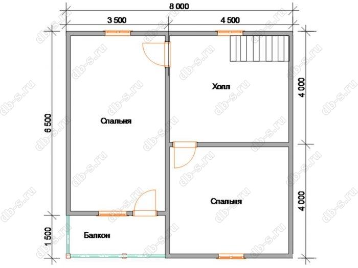 Планировка второго этажа дома 8 на 8
