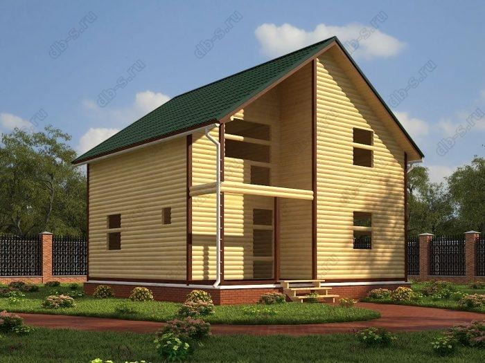 Двухэтажный проект 8 на 8 сруб под усадку терраса (веранда) балкон двухскатная крыша санузел (туалет)