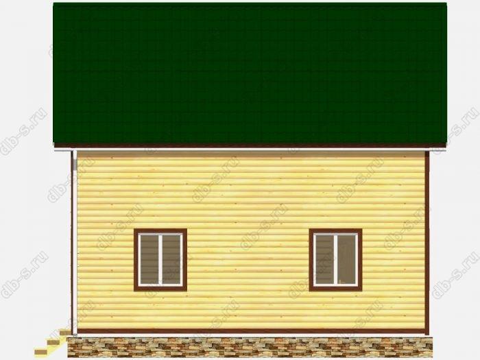 Дом из бруса 8х8 терраса (веранда) балкон двухскатная крыша