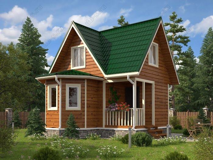 Проект с мансардой 6 на 6 каркасный дом под ключ терраса (веранда) двухскатная крыша
