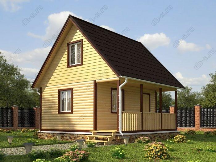 Проект с мансардой 6 на 6 дом из профилированного бруса терраса (веранда) двухскатная крыша