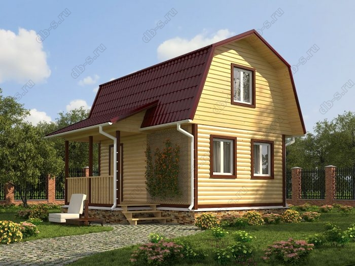 Проект с мансардой 6 на 4.5 дом из профилированного бруса терраса (веранда) ломаная крыша вальмовая крыша