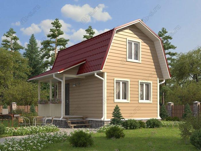 Проект с мансардой 6 на 4.5 каркасный дом под ключ терраса (веранда) ломаная крыша вальмовая крыша