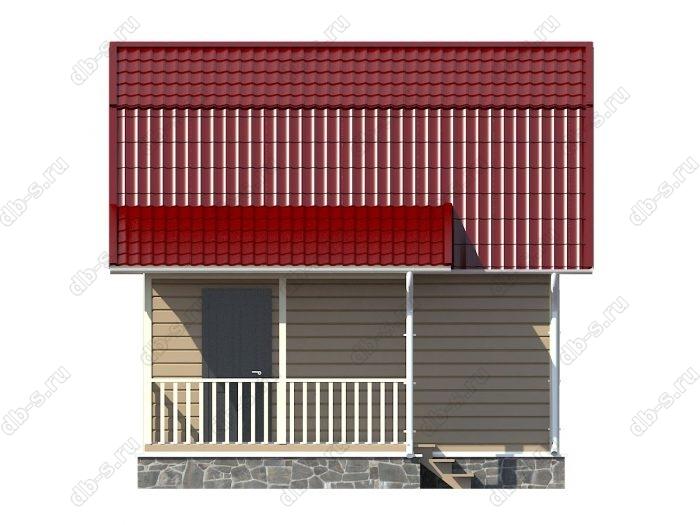 Каркасный дом 6х4.5 терраса (веранда) ломаная крыша вальмовая крыша