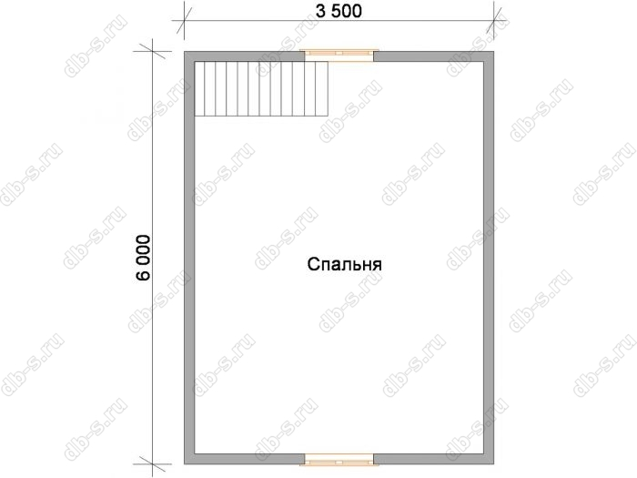 Дом 6 на 4.5 план мансардного этажа
