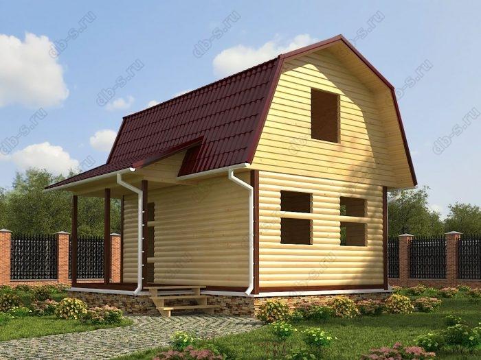 Проект с мансардой 6 на 4.5 сруб под усадку терраса (веранда) ломаная крыша вальмовая крыша