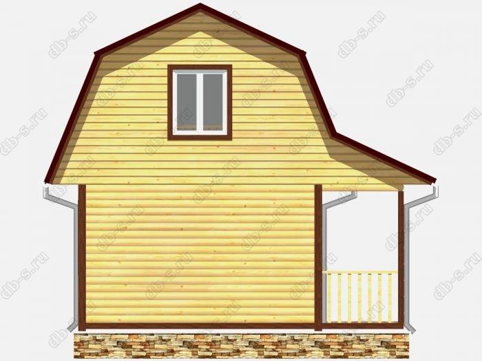 Дом из бруса 6х4.5 терраса (веранда) ломаная крыша вальмовая крыша