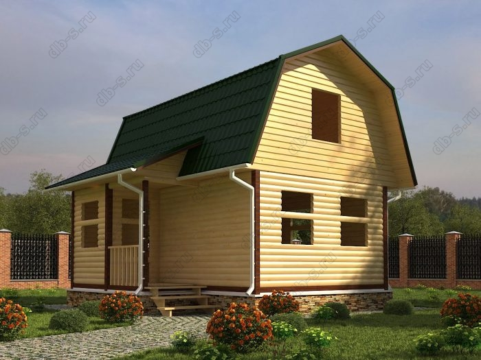 Проект с мансардой 4.5 на 6 сруб под усадку ломаная крыша вальмовая крыша