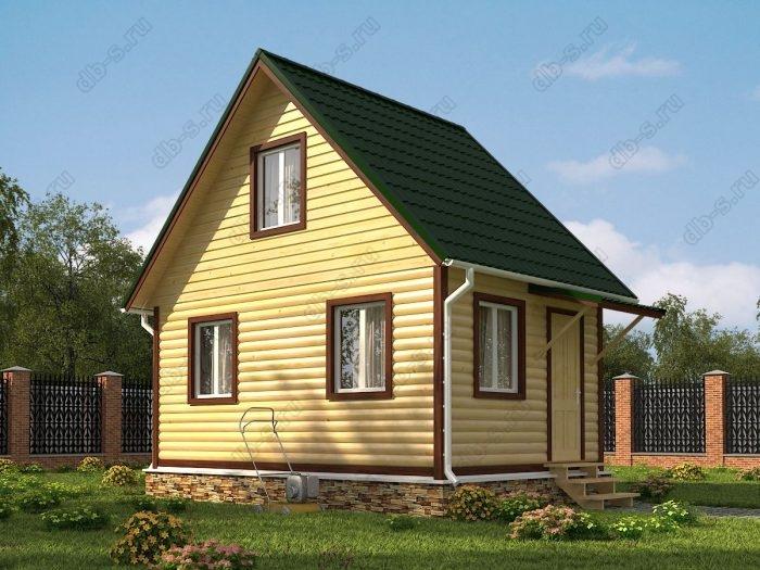 Проект с мансардой 6 на 4 дом из профилированного бруса двухскатная крыша