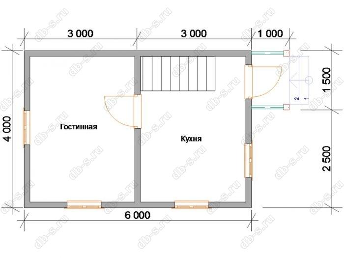Планировка дома 6х4 с крыльцом и мансардой