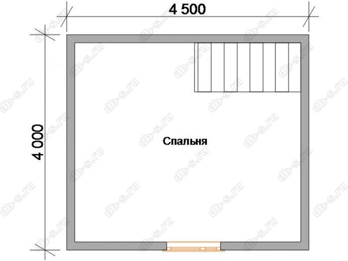 План мансардного этажа дома 6х4