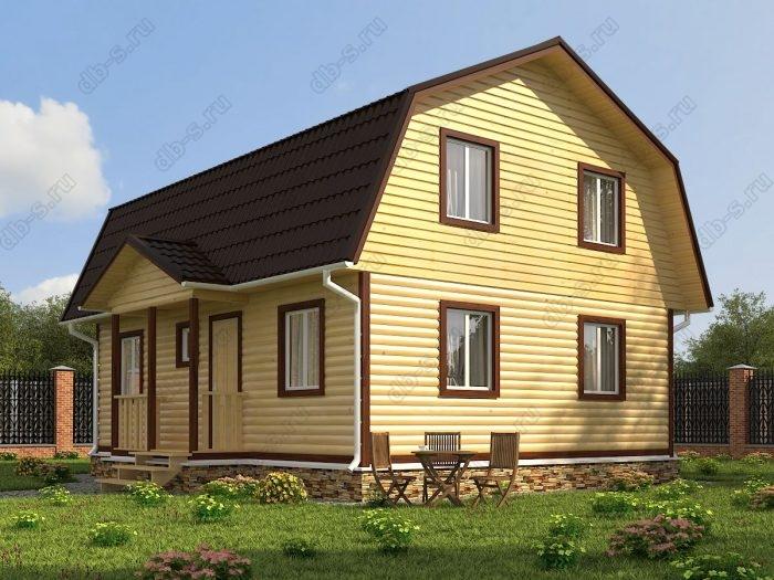 Проект с мансардой 9 на 7 дом из профилированного бруса терраса (веранда) ломаная крыша вальмовая крыша санузел (туалет)