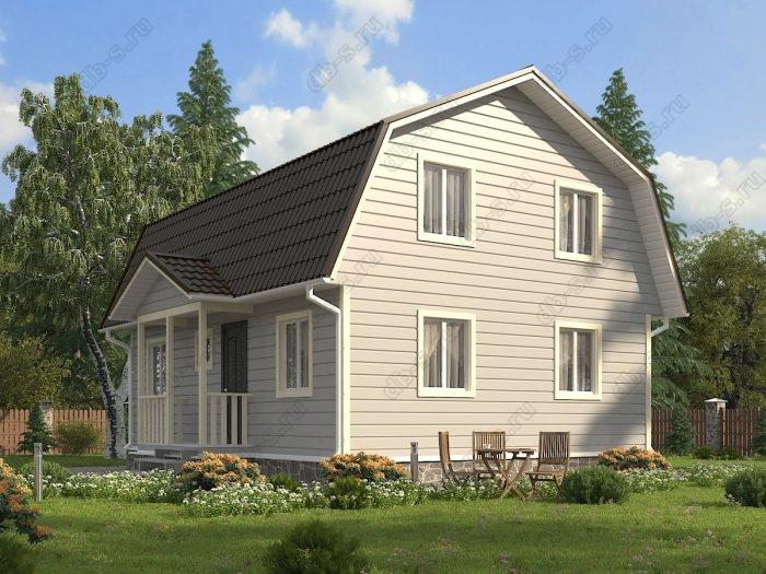 Проект с мансардой 9 на 7 каркасный дом под ключ терраса (веранда) ломаная крыша вальмовая крыша санузел (туалет)