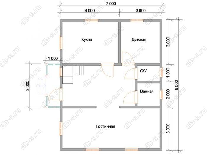 Планировка дома с мансардой 9 на 7