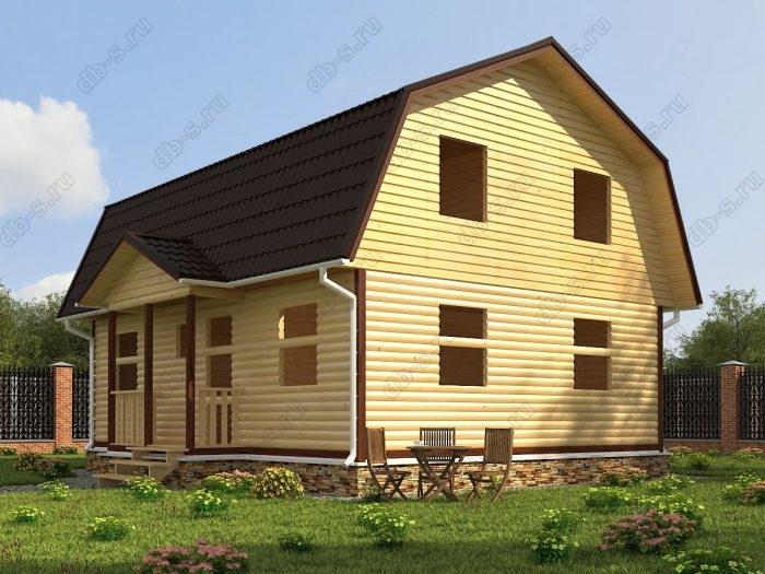 Проект с мансардой 9 на 7 сруб под усадку терраса (веранда) ломаная крыша вальмовая крыша санузел (туалет)