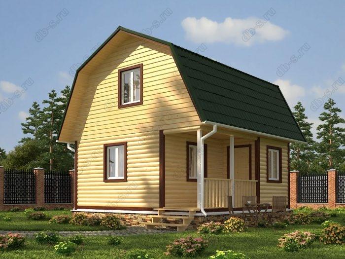 Проект с мансардой 6 на 6 дом из профилированного бруса терраса (веранда) ломаная крыша вальмовая крыша