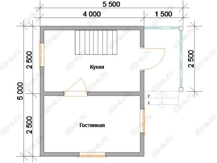 Планировка дома с мансардой 6 на 4