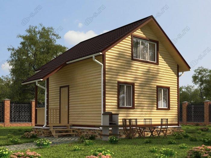 Двухэтажный проект 6 на 6 дом из профилированного бруса двухскатная крыша