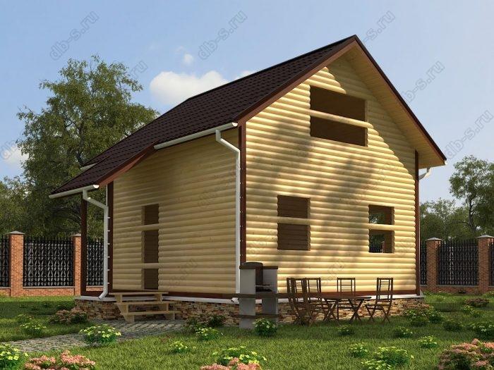 Двухэтажный проект 6 на 6 сруб под усадку двухскатная крыша