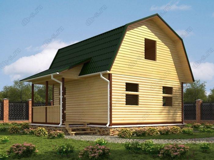 Проект с мансардой 6 на 7.5 сруб под усадку терраса (веранда) ломаная крыша вальмовая крыша