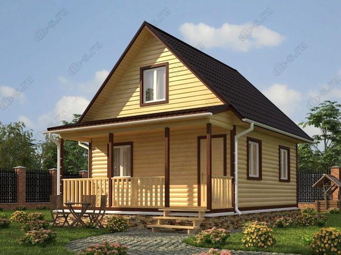 Проект с мансардой 6 на 7.5 дом из профилированного бруса терраса (веранда) двухскатная крыша