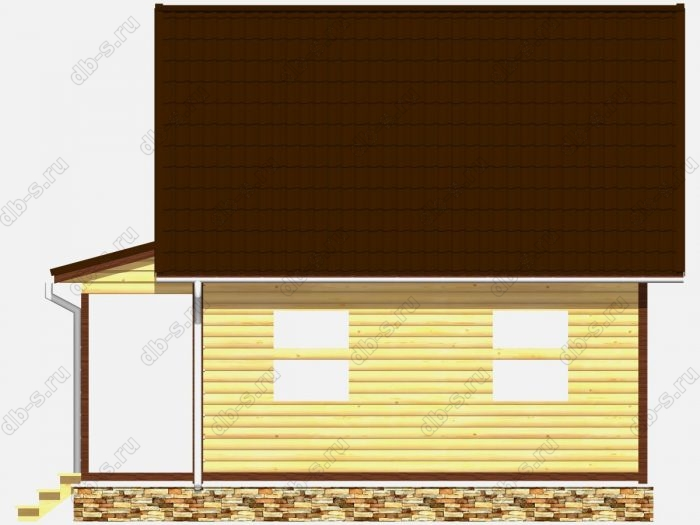 Сруб дома 6х7.5 терраса (веранда) двухскатная крыша