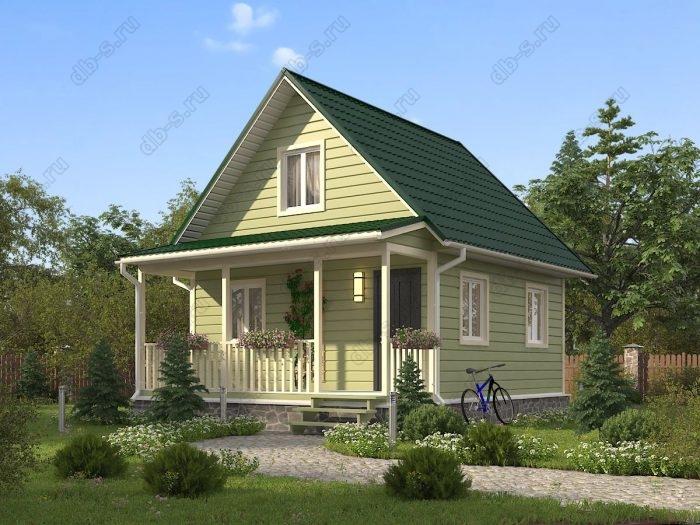 Проект с мансардой 6 на 7.5 каркасный дом под ключ терраса (веранда) двухскатная крыша