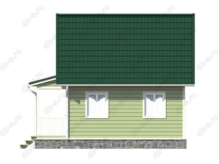 Каркасный дом 6х7.5 терраса (веранда) двухскатная крыша