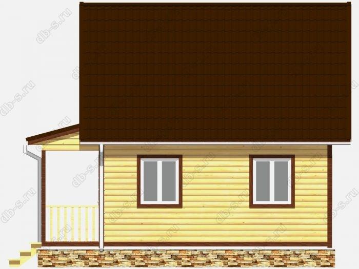 Дом из бруса 6х7.5 терраса (веранда) двухскатная крыша