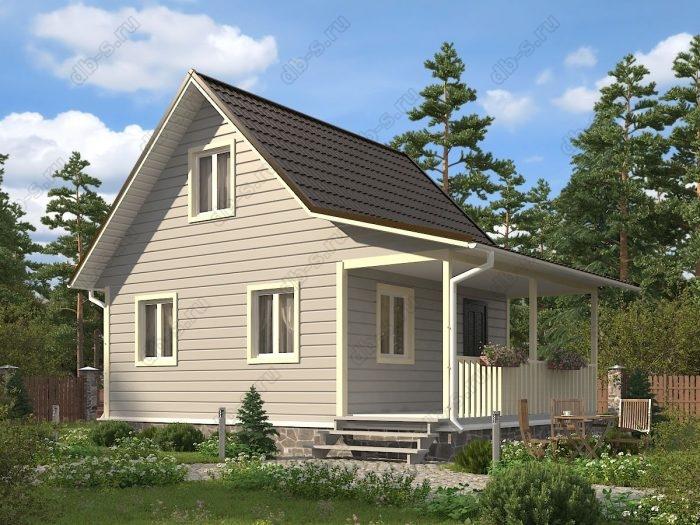 Проект с мансардой 6 на 8 каркасный дом под ключ терраса (веранда) двухскатная крыша