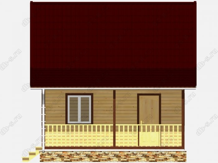 Дом из бруса 6х8 терраса (веранда) двухскатная крыша