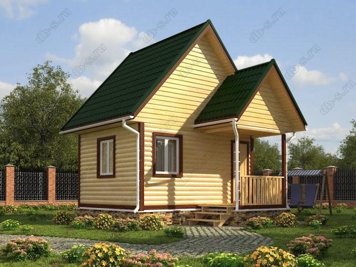 Проект с мансардой 5 на 4 дом из профилированного бруса двухскатная крыша