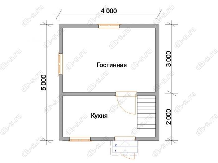Планировка дома с мансардой 5 на 4