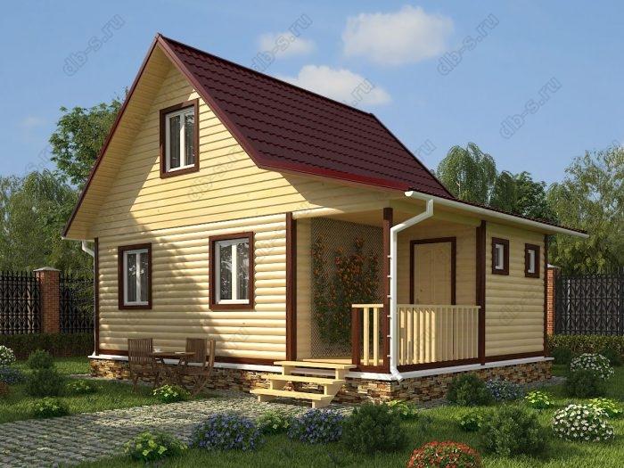 Проект с мансардой 8 на 6 дом из профилированного бруса терраса (веранда) двухскатная крыша санузел (туалет)