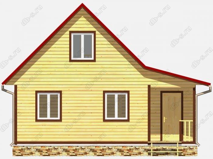 Дом из бруса 8х6 терраса (веранда) двухскатная крыша