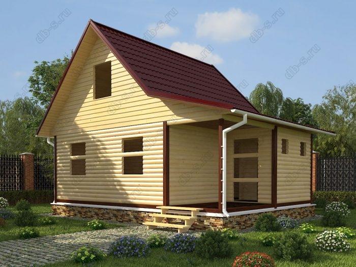 Проект с мансардой 8 на 6 сруб под усадку терраса (веранда) двухскатная крыша санузел (туалет)