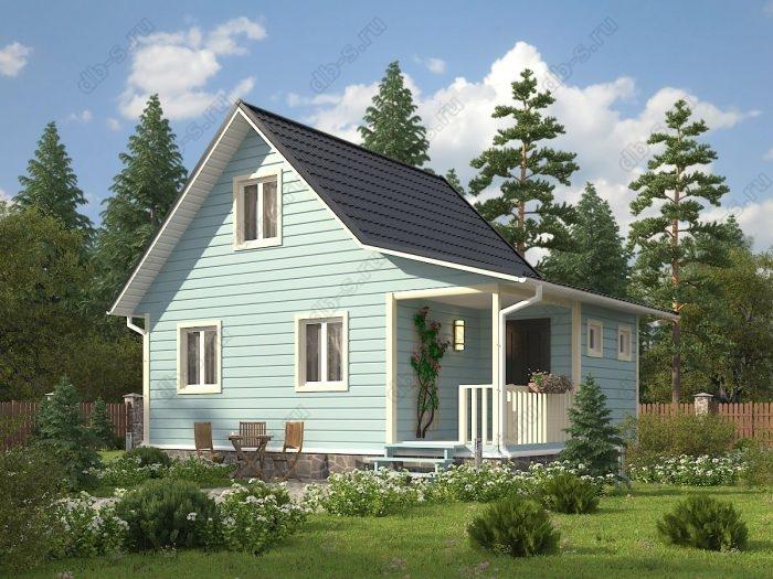 Проект с мансардой 8 на 6 каркасный дом под ключ терраса (веранда) двухскатная крыша санузел (туалет)