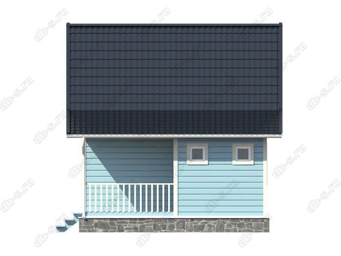 Каркасный дом 8х6 терраса (веранда) двухскатная крыша